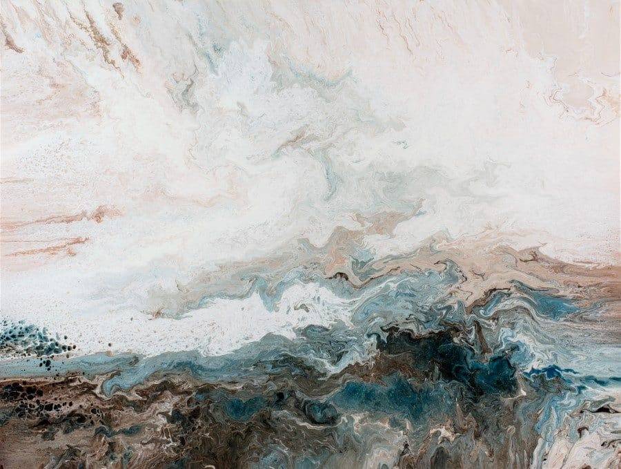 abstract landscape flow painting | coast sea ocean shore | blue brown white tan