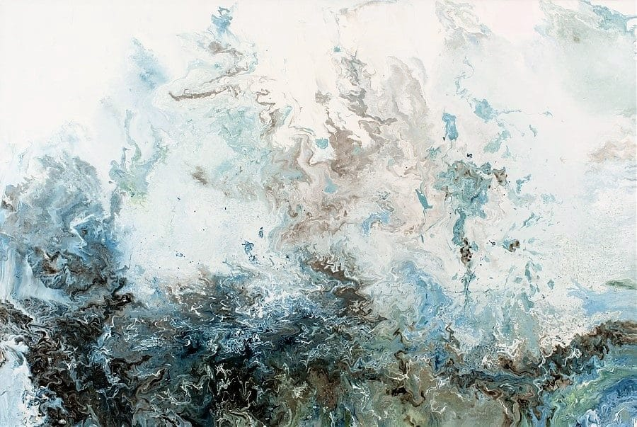 abstract seascape landscape by Holly Van Hart | blue brown tan white | flow painting | sea ocean coast sky