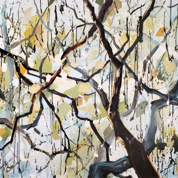 Tree Art. Forest Branches With Afternoon Light. Leaves Are Blue, Green, Yellow. Painting By Holly Van Hart.