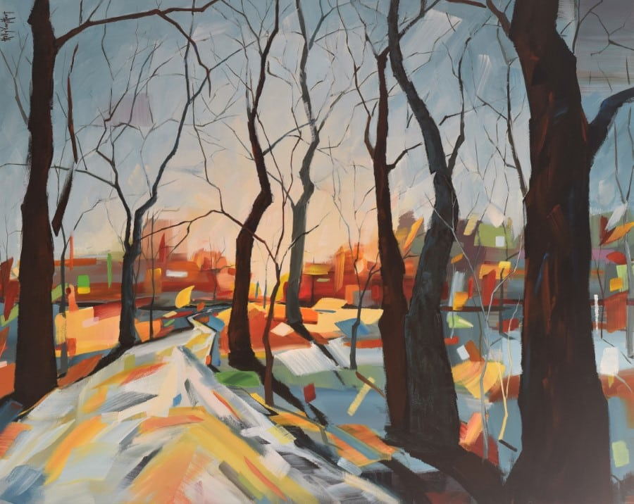 Abstract landscape painting with trees, city, sky | blue red brown orange | by Holly Van Hart | As featured in the Huffington Post, Professional Artist, and ABC News