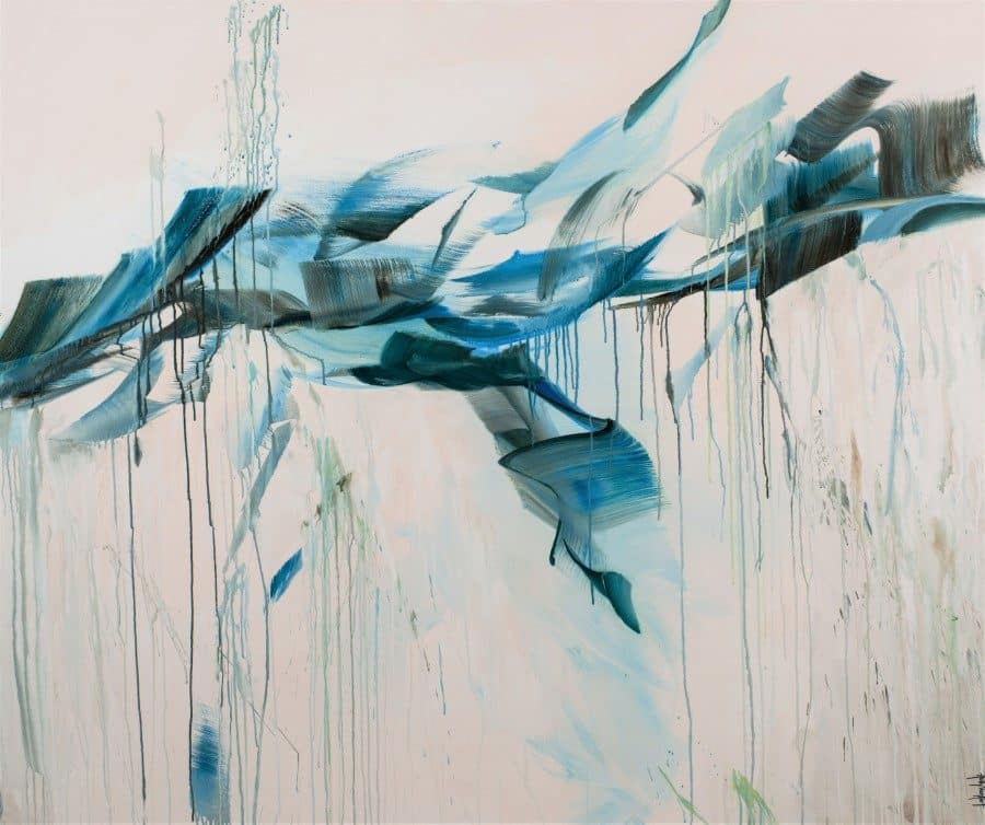 abstract landscape painting by Holly Van Hart | blue white green | loosely painted | mountains birds sky sea