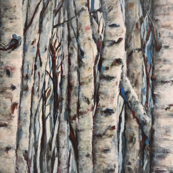 Birch Aspen Colony. Dense Tree Trunks. Highlights Of Blue. Acrylic Painting By Holly Van Hart.