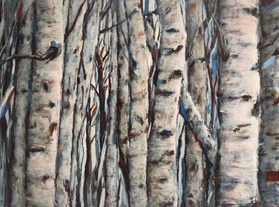 Birch aspen colony. Dense tree trunks. Highlights of blue. Acrylic painting by Holly Van Hart.
