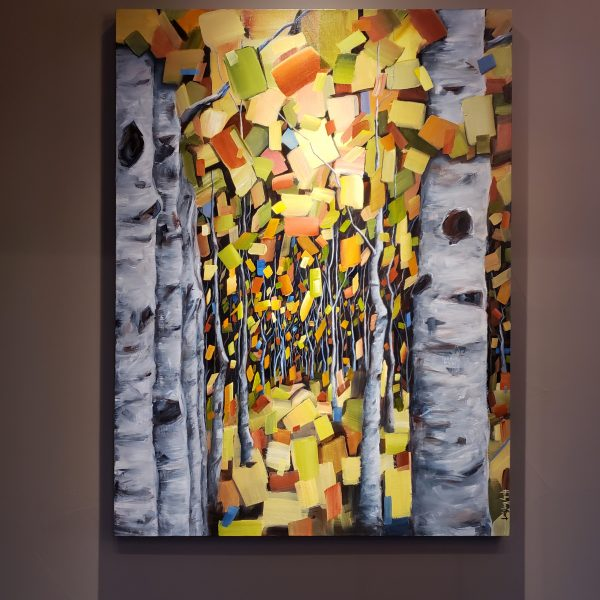Aspen Birch Painting Autumn Red Orange Yellow Gray Trees - Abstract Painting