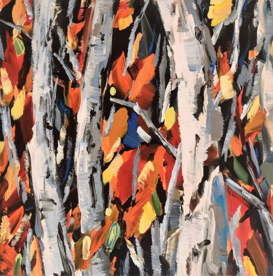 birch aspen trees - mixed media painting by Holly Van Hart - Autumn Surprise | autumn tree orange yellow white gray