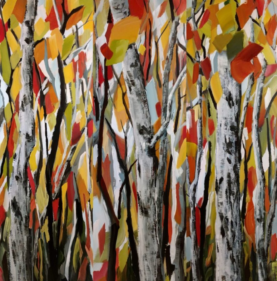 aspen birch forest painting - autumn red orange yellow gray white - painting by American artist Holly Van Hart
