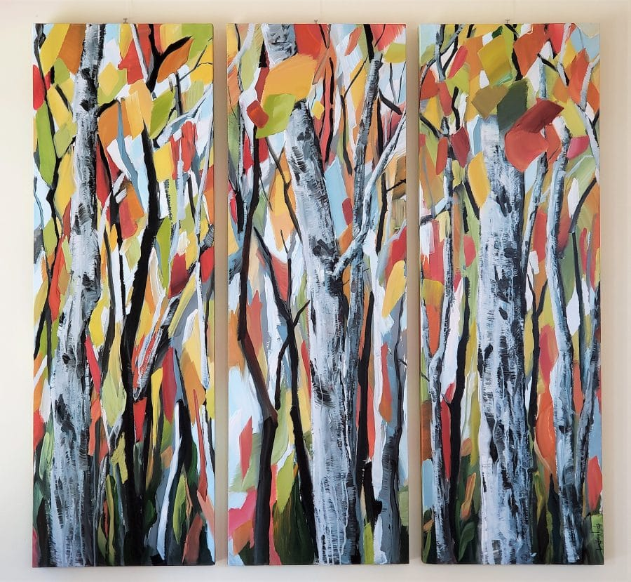 aspen forest painting by American artist Holly Van Hart | autumn red yellow orange gray | as featured in Professional Artist Magazine