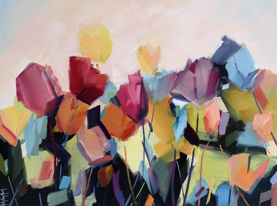 abstract floral painting featuring tulips | red purple orange blue flowers | yellow sky | by California artist Holly Van Hart