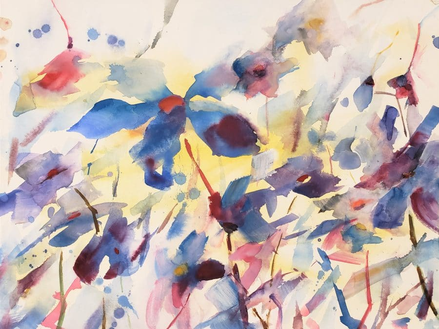 abstract floral painting - flowers - red yellow orange blue - loosely painted