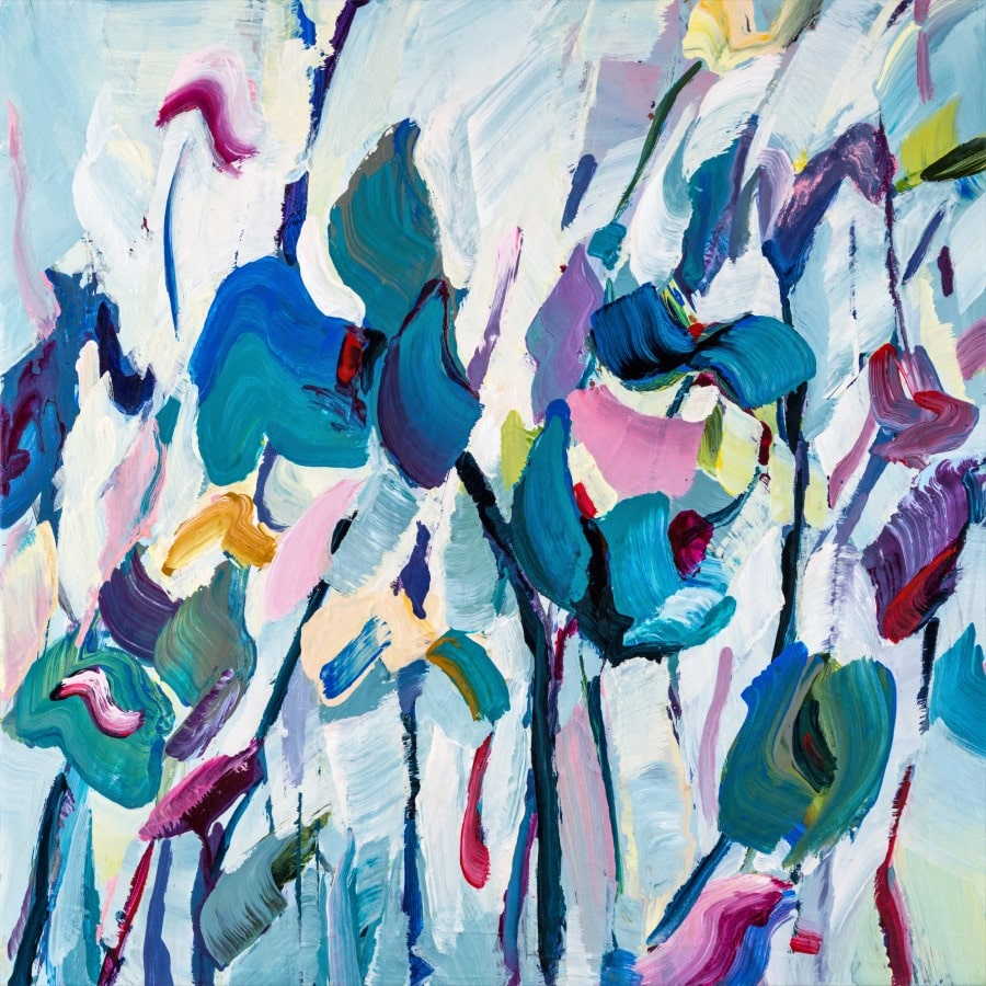 abstract flower painting - acrylic - blue yellow violet green - wall art for sale by Holly Van Hart