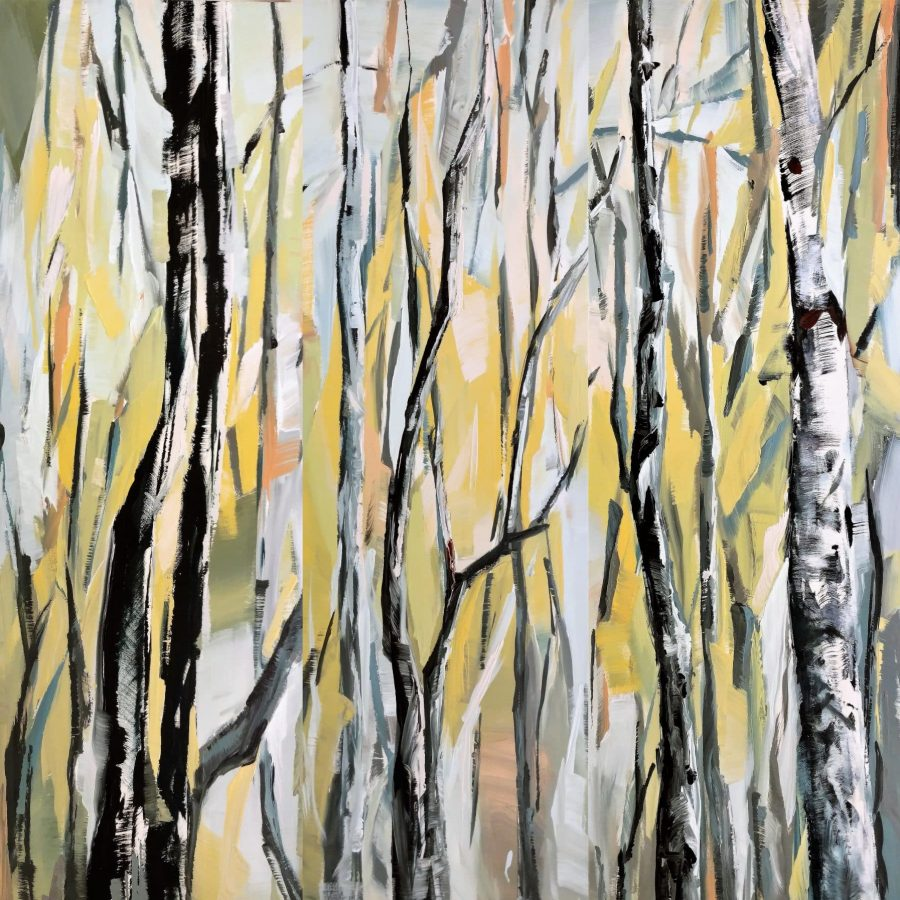 birch aspen mixed media painting | blue yellow orange brown white | by California artist Holly Van Hart