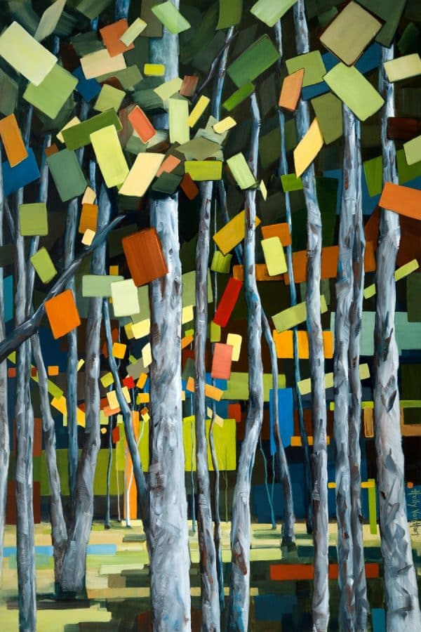 Birch forest painting, with abstract leaves. Green Blue, Red, and Orange, by Holly Van Hart