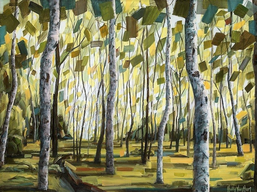 forest-path-birch-aspen-Boundless-Promise-36-x-48-mixed-media-painting-by-Holly-Van-Hart