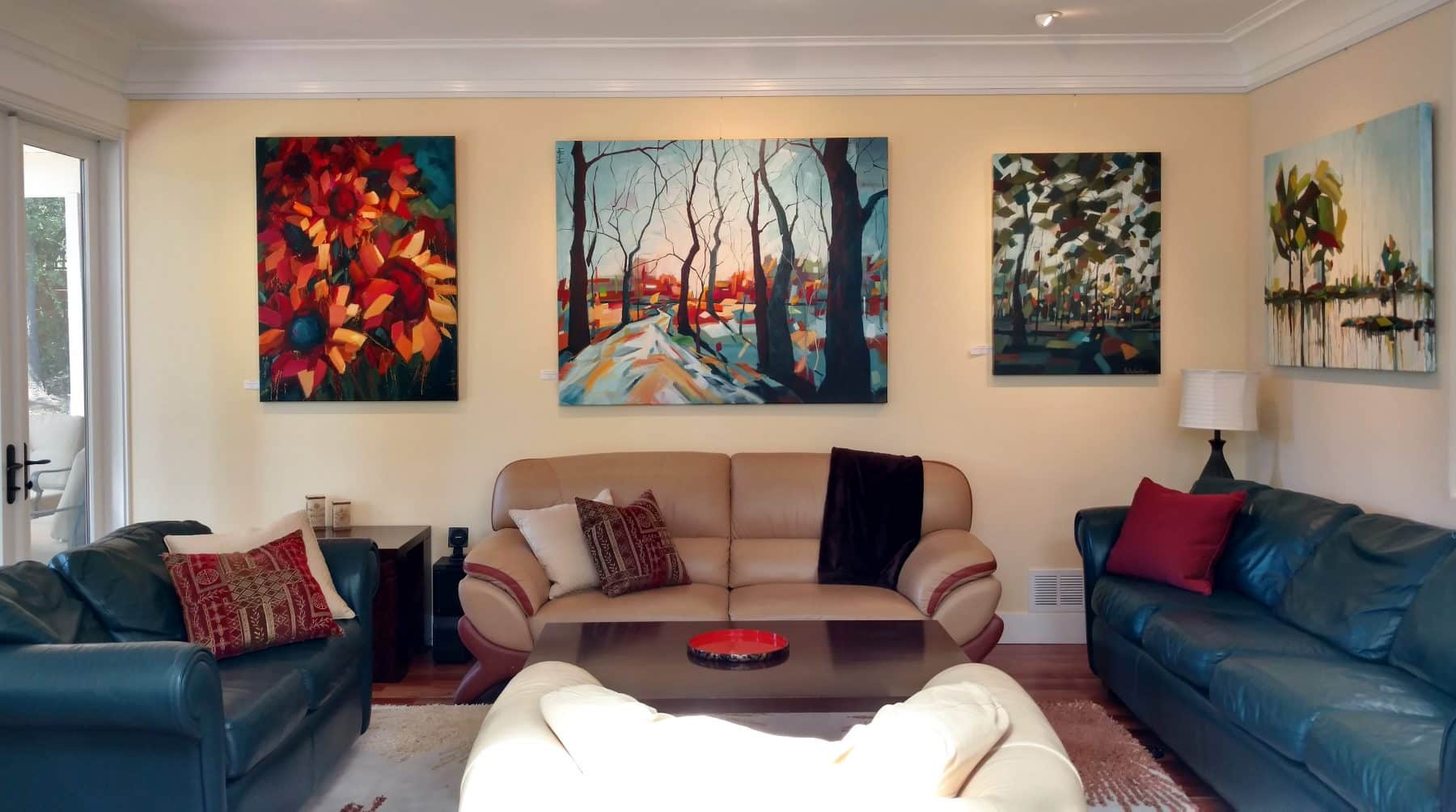 abstract floral and forest paintings on canvas by Holly Van Hart   paintings for sale