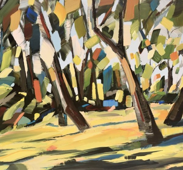 Forest Trees Field Sunlight - Mixed Media Painting By Holly Van Hart - Relaxing In The Pause - 31 X 50 X 1.5 (Custom)