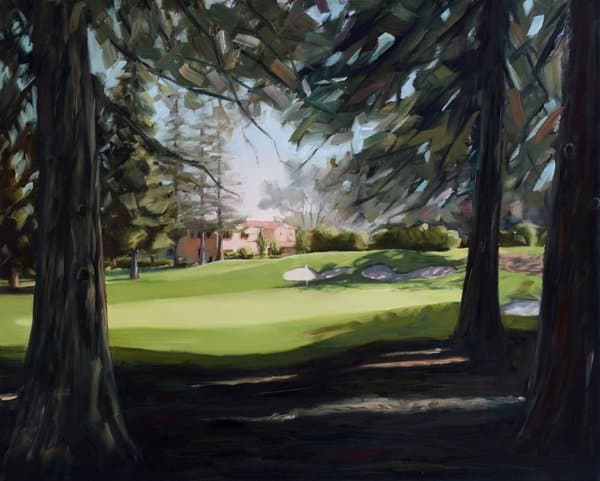 golf course landscape painting by Holly Van Hart | La Rinconada Country Club | Hole 9 | green brown blue | clubhouse trees grass green redwood