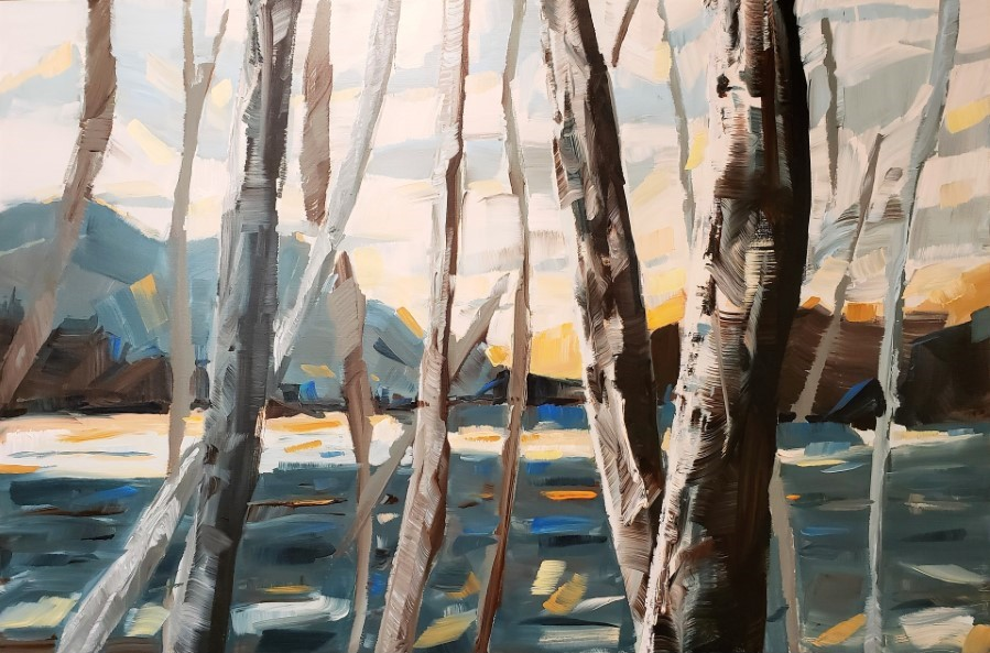 landscape painting | birch aspen mountains lake ocean sky | blue orange yellow brown gray | by American artist Holly Van Hart | Awarded Best of Houzz
