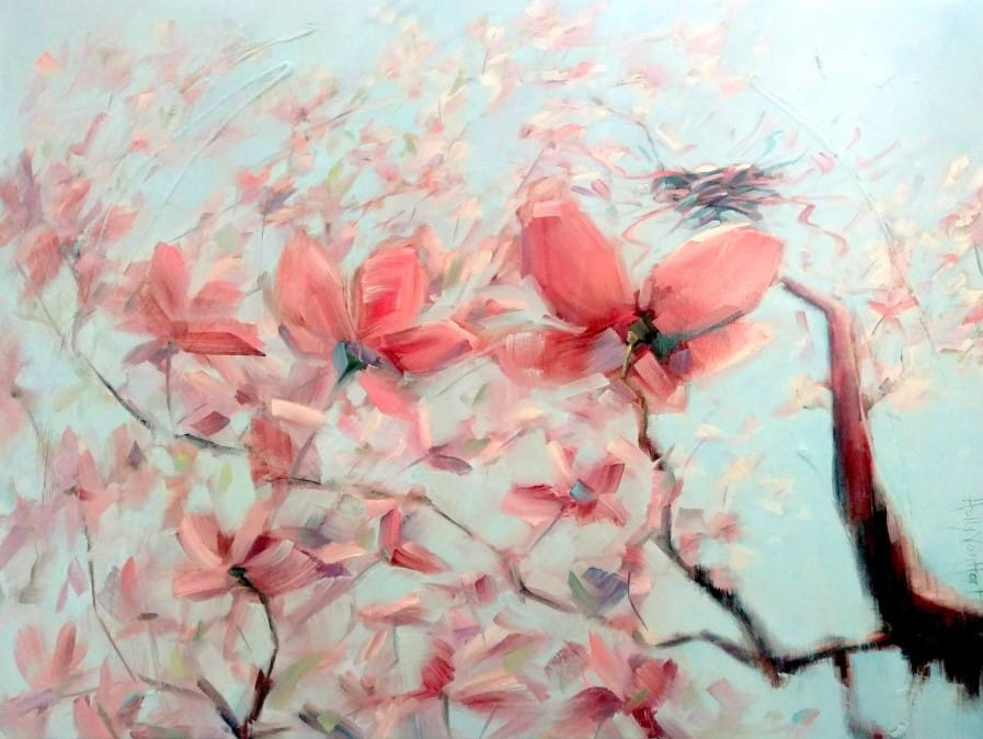 Abstract landscape magnolia flower nest painting | Shimmering with Possibilities oil painting by Holly Van Hart | Winner, Best of Houzz | Featured in Professional Artist Magazine and Huffington Post