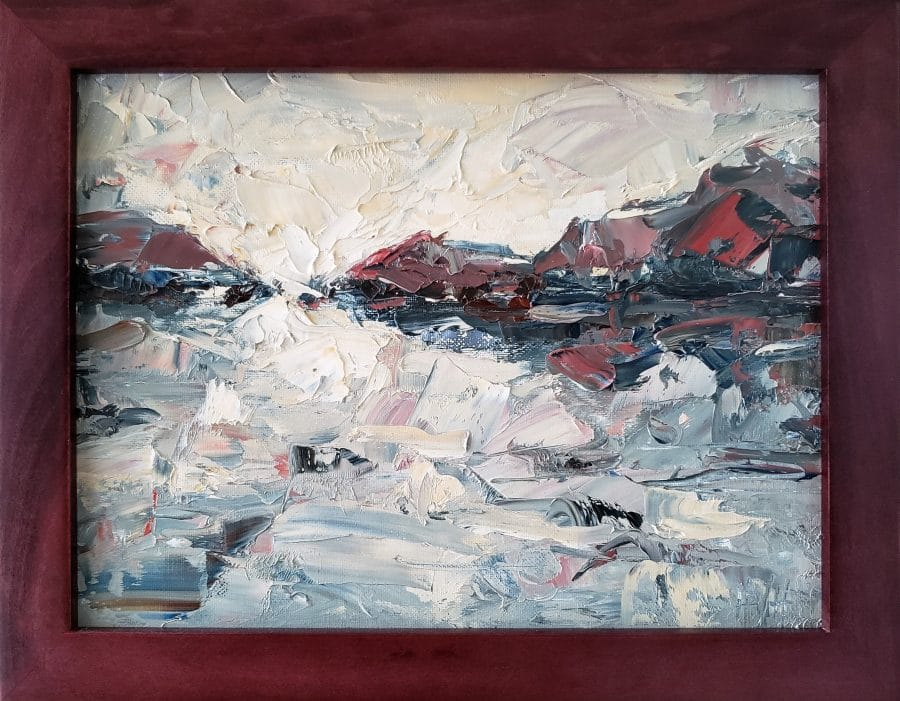 abstract landscape painting by Holly Van Hart - mountains water sky reflection - blue white red yellow