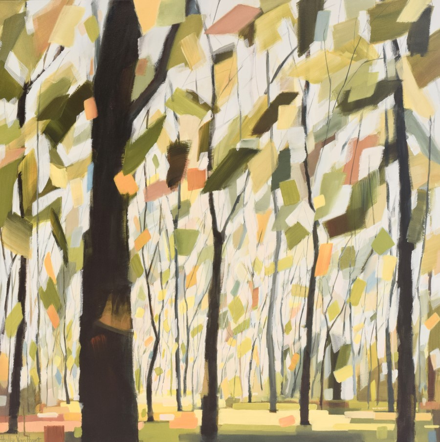 Tree Painting, Fall Leaves With Yellow, Green, Blue And Orange, Brown And Blue Trunks - Circling Of The Seasons By Holly Van Hart