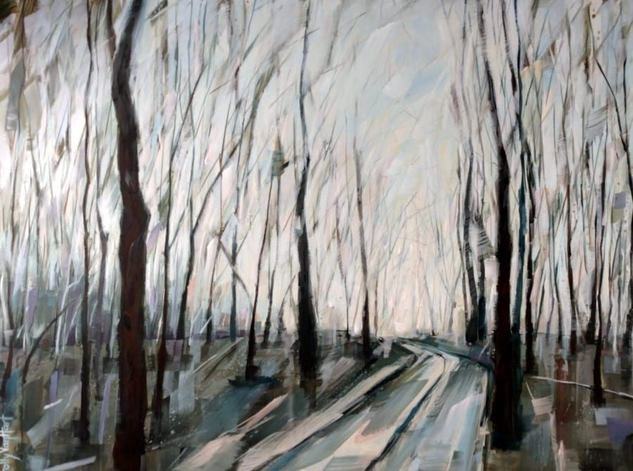 Abstract tree painting. Winter setting. Blue pink and yellow sky. Inviting path into the forest. Acrylic and charcoal painting by Holly Van Hart.
